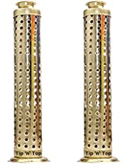 Tip 'n' Top Safety Agarbatti Stand with Dhoop Holder on Top (Set of 2, Gold)