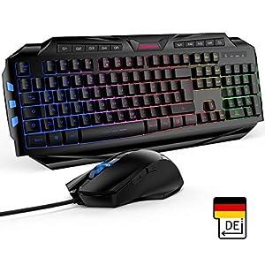 Gaming Tastatur Mit Maus Excelvan German Layout Led Tastatur Beleuchtet 4 Einstellbare LED-Helligkeit Gaming Maus Tastatur und kabelgebundene Maus mit