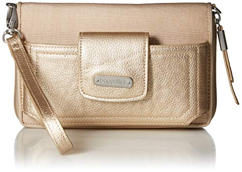 Baggallini RFID Handy Wallet Crossbody, Beige (Champagne Shimmer), Einheitsgröße -