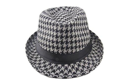 Dantiya Hommes Chapeaux de Feutre en Laine Écossais Feutre Jazz Gris
