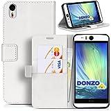 Handyhülle | Tasche | Cover | Case für das HTC Desire Eye von DONZO in Weiß Wallet Washed als Etui seitlich aufklappbar im Book-Style mit Kartenfach nutzbar als Geldbörse