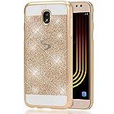 NALIA Handyhülle für Samsung Galaxy J5 2017 (EU-Modell), Glitzer Slim Hard-Case Back-Cover Schutzhülle, Glitter Handy-Tasche, Dünnes Bling Strass Etui Skin für Samsung-J5 17, Farbe:Gold