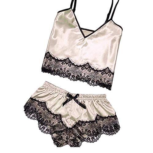 Missoul 2Pc Fashion Sexy Lace Sleepwear Lingerie Temptation Babydoll Underwear Nightdress Women''s Set Nightwear Baby Women Plus Size Soft Bodysuit Nighty Nightgown Nighties (Beige-03)