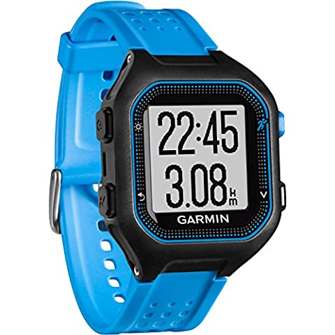 Garmin Forerunner 25 - Reloj deportivo con monitor de frecuencia cardiaca, color negro y azul, talla