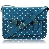 Ladies Womens Teal Blue Spot Polka Dot Satchel Shoulder Bag Spotty Crossbody Handbag