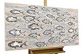 KunstLoft® Acryl-Gemälde 'Standing Strong' 120x60cm   original handgemalte Leinwand Bilder XXL   Fische Grau Schwarm Lachs   Wandbild Acrylbild moderne Kunst einteilig mit Rahmen