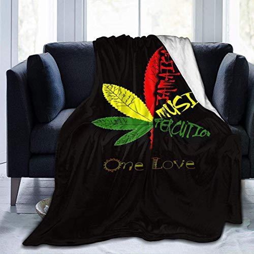 Hoswee Manta de Sofá y Cama, Rasta One Love Colorful Maple Leaves...