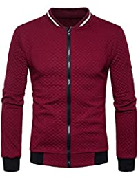VENMO Herren Plaid Cardigan Mantel Zipper Sweatshirt Tops Jacke Langarm  Outwear Strickjacke Cotton Jacket Sweatjacke mit Stehkragen… d86732a366