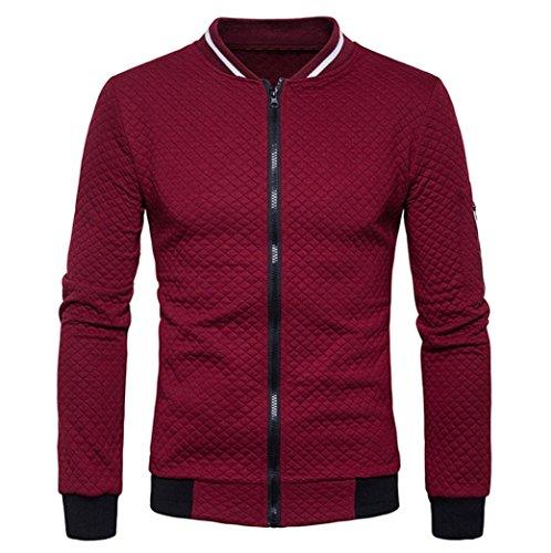 VENMO Herren Plaid Cardigan Mantel Zipper Sweatshirt Tops Jacke Langarm Outwear Strickjacke Cotton Jacket Sweatjacke mit Stehkragen Baumwolle Hoodie verschiedene Farben Kapuzenjacke (L, Wind Red)
