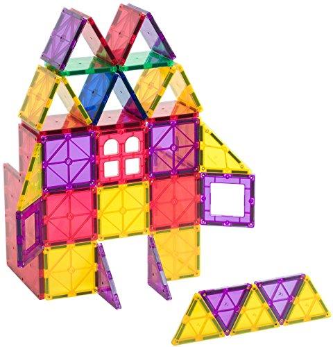 Playmags 60 Stück Starter Set: Mit stärksten Magneten garantiert, robust, super haltbar mit lebendigen klaren Farbe Fliesen. 6-teiliges Clickins-Zubehör zur Steigerung Ihrer Kreativität