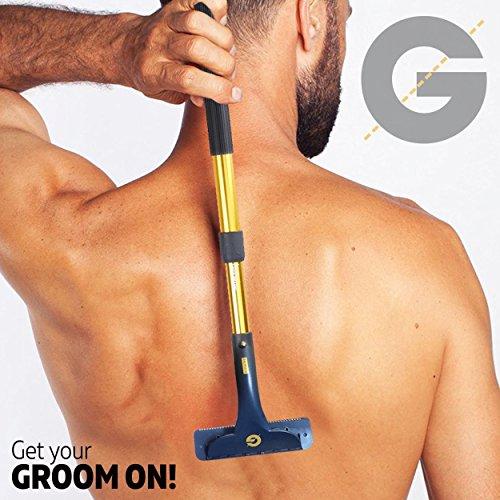 Groomarang Rücken und Körper Haarentfernungs Gerät - Multi-Funktions-und ausziehbarer Rasierer und Haarentferner für Männer, Creme-Tool, Back-In-It