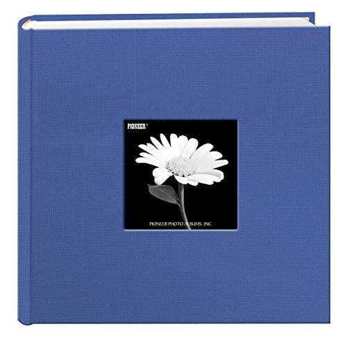 Pioneer Fotoalbum mit Fotofächern und Fotorahmen-Einband aus Stoff, himmelblau, 22,9 x 22,9 cm