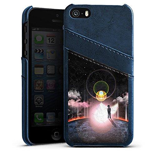 Apple iPhone 5s Housse Étui Protection Coque Galaxie Galaxie Nuages Étui en cuir bleu marine