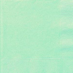Unique Party- Paquete de 20 servilletas de papel, Color verde menta, 16.5 cm (99222)