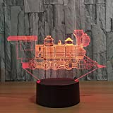 Leisurely Lazy - Lampada con illusione ottica 3D, in 7colori che cambiano al tocco di un tasto e telecomando a 15tasti, la luce notturna produce effetti di luce unici che mostrano sculture di luce Train