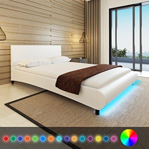 Anself Polsterbett Doppelbett Bett Ehebett aus Kunstleder mit LED-Streifen 140x200cm ohne Matratze Weiß