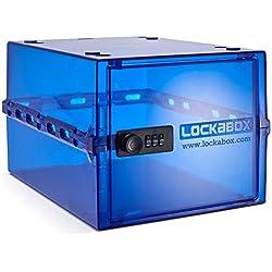 Lockabox, per un deposito più sicuro Cassetta di deposito blu scuro con chiusura a lucchetto per alimenti, medicinali e utensili domestici. Resiste nel frigo e nel freezer. Portatile, igienica e versatile, lunghezza 310mm x larghezza 210mm x altezza 170mm, fabbricata in Gran Bretagna