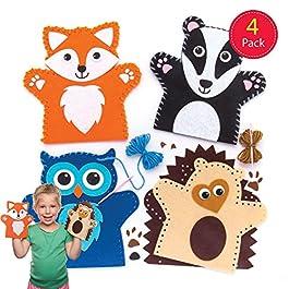 Baker Ross Kit per realizzare marionette da mano a forma di animali del bosco (confezione da 4) per