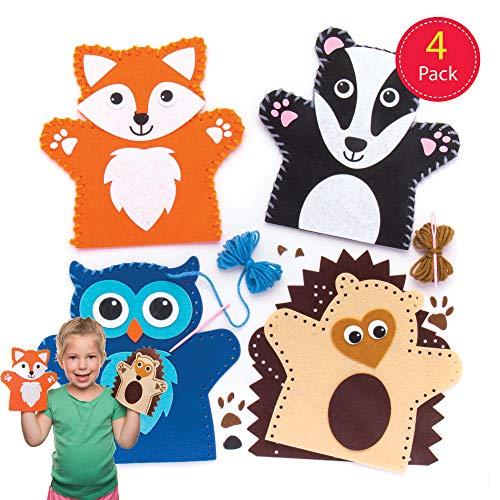 Baker Ross Kit per Realizzare Marionette da Mano Forma di Animali del Bosco per creazioni Fai da Te e Decorazioni per Bambini