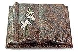 MEMORUM Grabmale Grabbuch, Grabplatte, Grabstein, Grabkissen, Urnengrabstein, Liegegrabstein Modell Antique 40 x 30 x 8-9 cm Paradiso-Granit, Poliert inkl. Gravur (Bronze-Color-Ornament Orchidee)