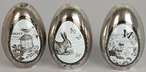 ische frühlingshafte Oster-Deko Ei stehend Deko-Ei antik-silber mit Bildmedaillion Preis für 3 Stück (Stehend Ei)