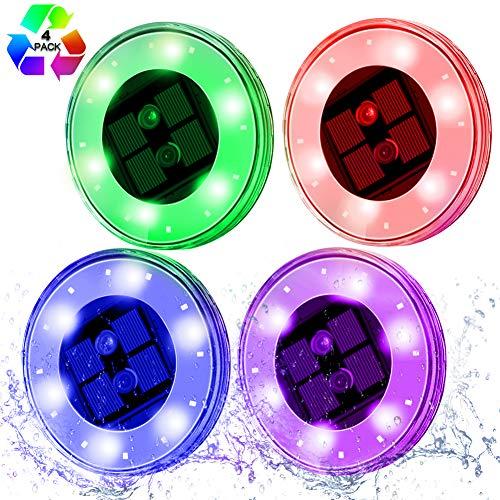 Lampe Solaire Exterieur [Version RGB Couleur] 4pack 18 LED Lumière Solaire de Jardin Lampe Flottante Solar, L'éclairage de sol Encastré avec Detecteur de Mouvement Spot Solaire Pour Piscine,Terrace