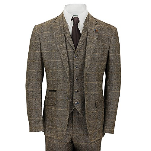 Mens-3-Piece-Tweed-Suit-Vintage-Tan-Brown-Herringbone-Check-Retro-Slim-Fit-Jacket-Waistcoat-Trousers
