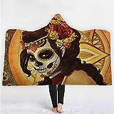 Westtreg Schädel Blume Bedruckte Kapuzendecke für Erwachsene Floral Tragbare Flanell Fleece Sherpa Sofa TV faul Werfen Decke-150cm (h) x200cm (w)