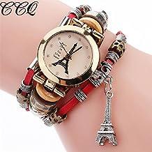 LILICAT Reloj de la torre Eiffel reloj de moda de las mujeres de acero inoxidable reloj de pulsera de cuarzo (Rojo)
