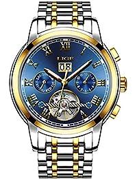 fedda03c0a7f LIGE Impermeable Moda Hombres Reloj mecanico automatico Acero Inoxidable  Relojes Azul Dorado Reloj de Pulsera