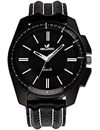 Orlando® Branded Japan Movement With Black Dial & Black Leather Belt Watches For Men - W1300BBXZXZ