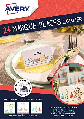 AveryBedruckbare Tischkarten Cavalier 8,5x 5cm, 24 Stück (Tischkarten Avery)
