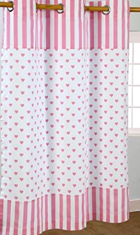 Homescapes 100% Cotton Unlined Eyelet Curtain Pair - Love Hearts - Pink White - 137cm (54
