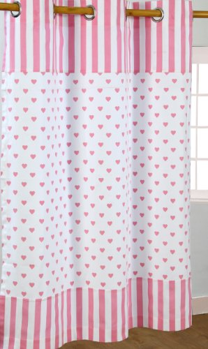 Homescapes Par de Cortinas de algodón con Ojales, diseño de Corazones y Rayas Rosas Sobre Blanco 137 x 182 cm