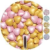 EinsSein 1kg Dragées mariage au chocolat cœur Mix médium rose-or perle dragees bapteme communion amandes feter et recevoir fêter de fete couleur pas cher aux bombe tag voir mes etui contenant boite a
