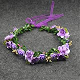 WDDZY® Nupcial Floral Ajustable Corona Cabello Chica Camelia Flor Simple Halo Piedra Artificial Boda Rústico , purple garlands