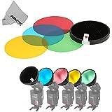 Fomito Godox AD-S11Filtro de color Fotografía Paquete de Gel con Kit de Reflector de Cubierta de rejilla de panal para flash WITSTRO AD180AD360AD360II