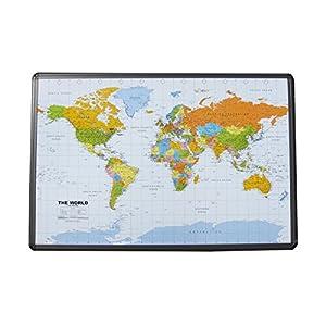 Mapa del Mundo Tablón de anuncios de corcho con marco de aluminio 90x 60cm
