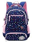FLHT Kinder-Schultasche Jungen Und Mädchen 1-6 Klasse 6-12 Jahre Alt Grosse Kapazität Leichter Rucksack Mit Mehreren Taschen,Darkblue-big