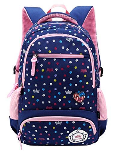 FLHT Kinder-Schultasche Jungen Und Mädchen 1-6 Klasse 6-12 Jahre Alt Grosse Kapazität Leichter Rucksack Mit Mehreren Taschen,Darkblue-big Oxford 2 Tasche
