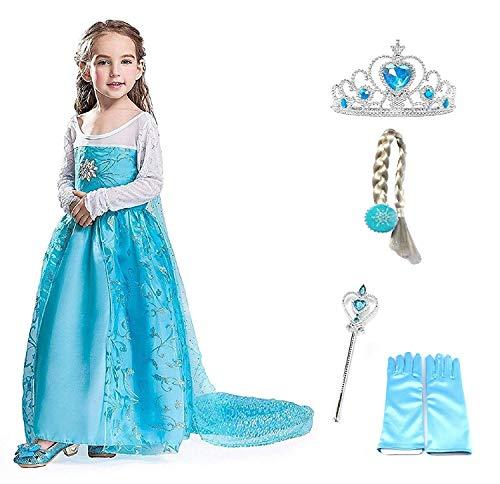 Größe 10 Elsa Kostüm - Größe 140 - 9 - 10 Jahre - Kostüm Elsa Blume mit Zubehör - Krone - Zauberstab - Handschuhe - Zopf - Mädchen - Blau - Kleid - Karneval - Halloween - Cosplay - Prinzessin - Frozen