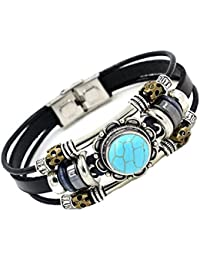 See Bello Real Leather Bracelet Turquoise Cuff with Nice Gift Box
