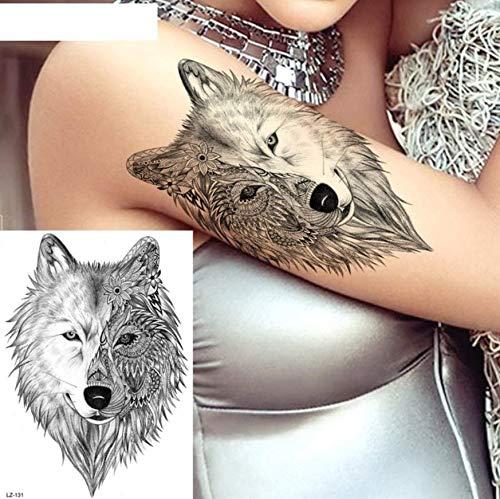 ruofengpuzi Sexy Black Wolf indische weibliche temporäre Tätowierung Aufkleber Body Art Zeichnung Tattoo falsche Wassertransfer Custom Tattoo