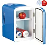 Rosenstein & Söhne Dosenkühlschrank: Mini-Kühlschrank mit Warmhalte-Funktion, für 12 & 230 V, 4 Liter, blau (Getränkekühlschrank)