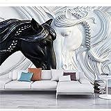 HONGYAUNZHANG Schwarz Und Weiß Pferd Benutzerdefinierte Fototapete 3D Stereoskopischen Wandbild Wohnzimmer Schlafzimmer Sofa Hintergrund Wandmalereien,290Cm (H) X 370Cm (W)