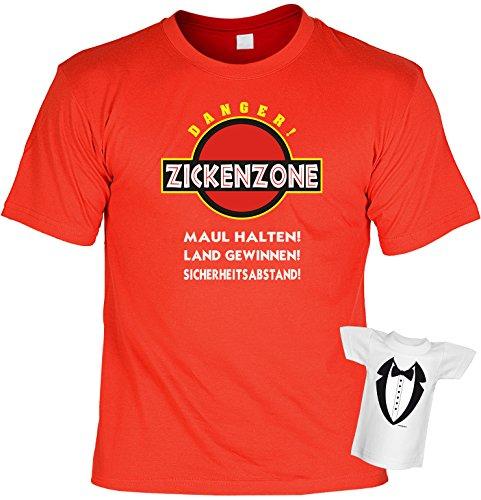Lustiges Sprüche Fun T-Shirt mit MiniShirt - Zickenzone Maul halten Land gewinnen - für Damen Herren Farbe rot Rot