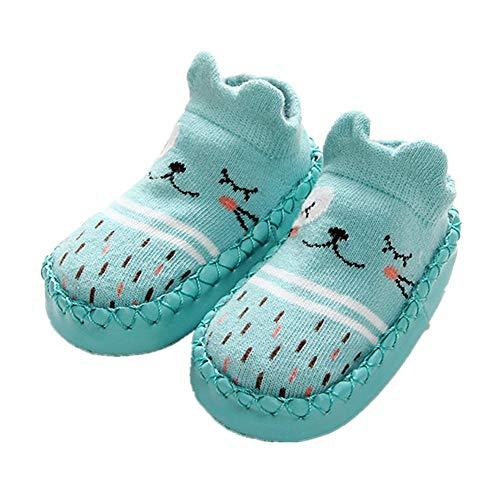 puseky 1 paire bébés garçons filles chaussettes pantoufles étage walkers chaussures chaussettes de dessin animé mignon anti-slip (Color : Green, Size : 9-12M)