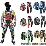Wulfsport Traje de motocross para adulto, modelo de 2017,, para carreras de motociclismo, motocross ATV, Quad, MX, deportes, etc., traje de 2 piezas (camiseta y pantalones) para hombre, varios colores, con pasamontañas de malla., multicolor