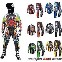Wulfsport Traje de motocross para adulto, modelo de 2017,, para carreras de motociclismo, motocross ATV, Quad, MX, deportes, etc., traje de 2 piezas (camiseta y pantalones) para hombre, varios colores, con pasamontañas de malla., verde