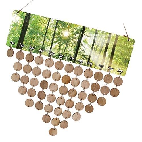 MagiDeal Deko Kalender, Holz Kalender, Geburtstag Jahrestag Jubiläum zum Notizen, Datum Schild, zum Aufhänger aus Holz - Vintage Forest, 40 x 12 x 0,5 cm